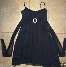 BLACK RUBY ROX  SMALL FLOWLY EVENING DRESS TIE BACK SASH WEDDING PROM NIGHT EUC
