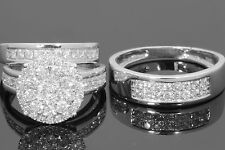 10K WHITE GOLD 2 CARAT MEN WOMEN DIAMOND TRIO ENGAGEMENT WEDDING RING BAND SET