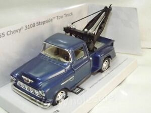 """1955 Chevy 3100 Stepside Pickup Tow Truck Blue DieCast Metal Model 5"""" New Boxed"""
