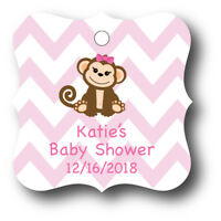 24 Pink Baby Girl Monkey Personalized With Name Baby Shower Favor Tag