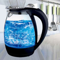 Blue Cordless LED Electric Illuminated Illuminating Glass Kettle Jug 1.7L