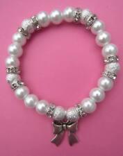 Faux Pearl Glass Bead Silver Diamante Bow Charm Bracelet New - 8 Colour Choice