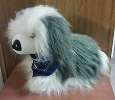 "New Kellytoy Stuffed Old English Sheepdog Toy with Navy Scarf, 20"" Long"