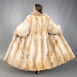183 GLAMOROUS REAL CANADIAN COYOTE COAT LUXURY FUR EXTRA LONG BEAUTIFUL SIZE M
