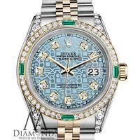 Rolex Steel & Gold 26mm Datejust Watch Jubilee Ice Blue Emerald Diamond Dial