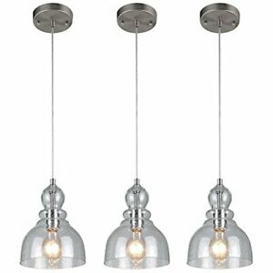 Westinghouse 1-Light Mini Pendant Clear Seeded Glass, Brushed Nickel Finish-3 Pk