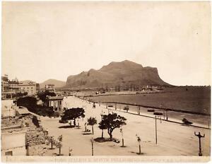 Palermo Foro Italico Mount Pellegrino Large vintage Albumen 1890 Phot Pelos L237