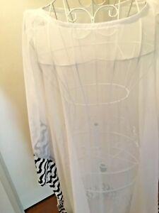 BLACK WHITE CHIFFON LONG TOP/DRESS CAFTAN KAFTAN one size fits most