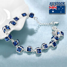 Wholesale Classic Sterling Silver Filled Cube Chain Bracelet With Blue Zircon