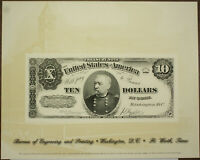 BEP souvenir card B 254 2001 ANA 1890 $10 Treasury Note Face (Untitled)