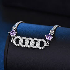 "Multi Round Purple Amethyst Cubic Zirconia Platinum Plated Charming Bracelet 8"""