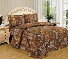 Leopard Zebra Safari Sheet Set Sheets Animal Print Black Brown Gold FULL 4 piece