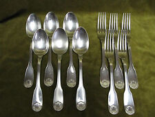 5 couverts metal argente alfenide christofle coquille (dinner forks soup spoons)