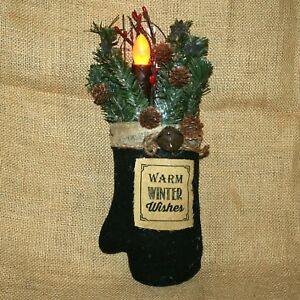 Hanging Warm Winter Wishes Mitten Stuffed Greenery LED Taper  Christmas Decor