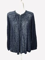 Lucky Brand Navy Blue Sheer Lace Long Sleeve Top Blouse Buttons Front Size L
