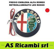 FREGIO EMBLEMA LOGO ALFA ROMEO RETROILLUMINATO A LED COLORE ROSSO TUNING