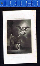 TOBIT and the ANGEL- 1851 Line Engraving by Johnson