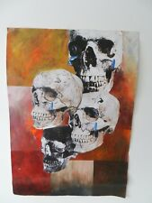 SKULL CLUSTER, ORIGINAL ABSTRACT PAINTING WITH COLLAGE, SURREAL WALL ART PICTURE