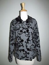 PBJ Sport Womens Size M Gray+Black Velvet Damask Print Wool Jacket Blazer