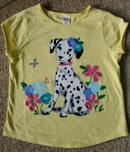 Gymboree Girls Tee T-Shirt Dalmatian Yellow Flowers Short Sleeve Size 7-8