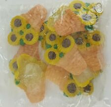 """10 PACK WAX SUNFLOWER IN A POT 2.5"""" TALL ARTS AND CRAFTS HOBBY SUN FLOWER"""
