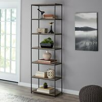 "Rustic Bookcase Bookshelf Farmhouse Industrial Furniture 7 Shelf Home Office 75"""