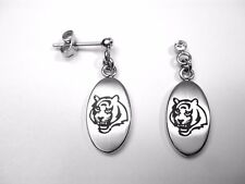 NFL Cincinnati Bengals Stainless Steel Logo Dangle Earrings w/Cubic Zirconia