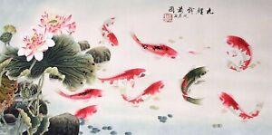ORIGINAL ASIAN FINE ART CHINESE ANIMAL WATERCOLOR PAINTING-Koi fish carps&Lotus