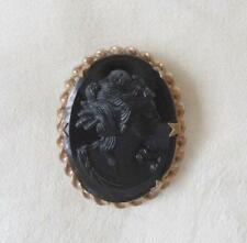 Vintage Black Glass Cameo Brooch Gold Plate Mourning Pin