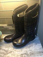 Bogs Women's Hampton Plaid Winter Brown Insulated Rain Boots Chocolate 6M