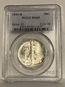 1934 D Walking Liberty Silver Half Dollar - PCGS MS 65