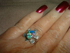 OPAL STERLING SILVER TURTLE RING SIGNED TS SIZE 7-MARKED DOWN!
