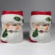 Vintage 1980 Homco Sweet Keepers Winking Santa Claus Bisque Porcelain Set of 2