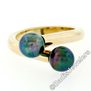 14K Yellow Gold 7.5mm 2 Black Iridescent Pearl High Bypass Twisted Cocktail Ring