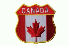 CANADA Country Flag With TITLE Police  Shield Shape IRON-ON PATCH CREST BADGE