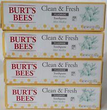 LOT of 4 BURT'S BEES Clean & Fresh Fluoride Toothpaste MINT MEDLEY - 4.7 OZ Each