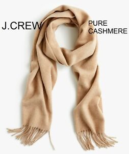 J.CREW 100% pure cashmere scarf muffler wrap solid beige camel tan gift soft nr.