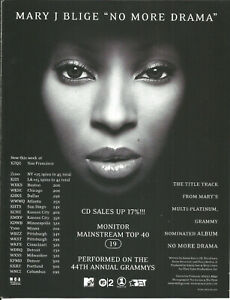 MARY J BLIGE Ultra Rare Drama 2002 PROMO TRADE AD Poster for More CD MINT USA