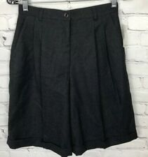 NWT VTG Talbots Shorts Gray High Waist Cuffed Pleated 100% Wool Women's Size 8