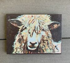 Michelle Foy Sucaet Sheep Wood Art Signed Country Style Decor 7 in x 5 in