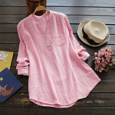 UK Womens Long Sleeve Button Blouse Plain Ladies Casual T-shirt Tops Size 12-26