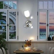 Wandlampe Blüten Design Chrom Glas Leuchte Wohn Schlaf Zimmer Beleuchtung Flur