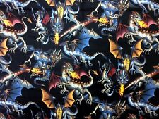 AH253 Tale of the Dragon Fantasy Wizard Asian Tattoo Wild Cotton Quilt Fabric