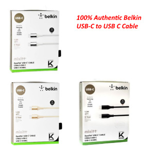 New Belkin Duratek USB-C to USB C Charge Sync Cable 4 Feet Double Braided