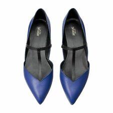 KATE SPADE Saturday T Strap Leather Flats Blue Black Size 7.5 M