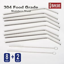 5x Eco Stainless Steel Metal Drinking Straw Reusable Straws 2 Cleaner Brush Kit