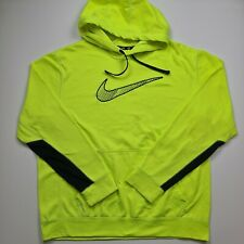 Nike THERMA-FIT Men Hoodie Pullover Yellow Neon Bright Big Logo Front Size XL