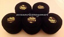 ANCHOR Pearl Cotton Black thread Balls Size 8 (85 Meters each)