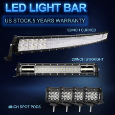 "54Inch Curved LED Light Bar+22 inch+4"" CUBE PODS OFFROAD SUV 4WD UTV VS 52/42/20"