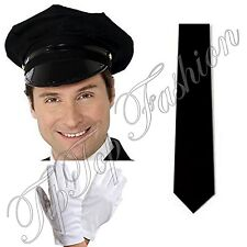 New Chauffeur Cap Limo Taxi Driver Hat, White Gloves & Black Tie Fancy Dress Kit